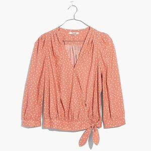 Madewell wrap top cotton blouse star print